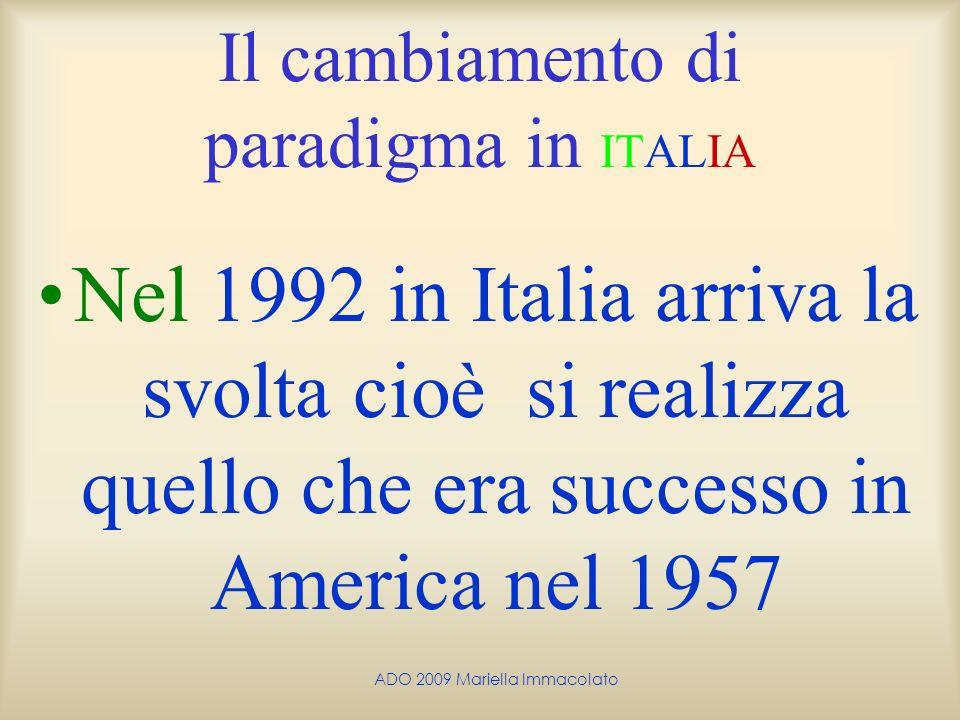 ADO 2009 Mariella Immacolato Il cambiamento di paradigma in ITALIA Nel 1992 in Italia arriva la svolta cioè si realizza quello che era successo in Ame