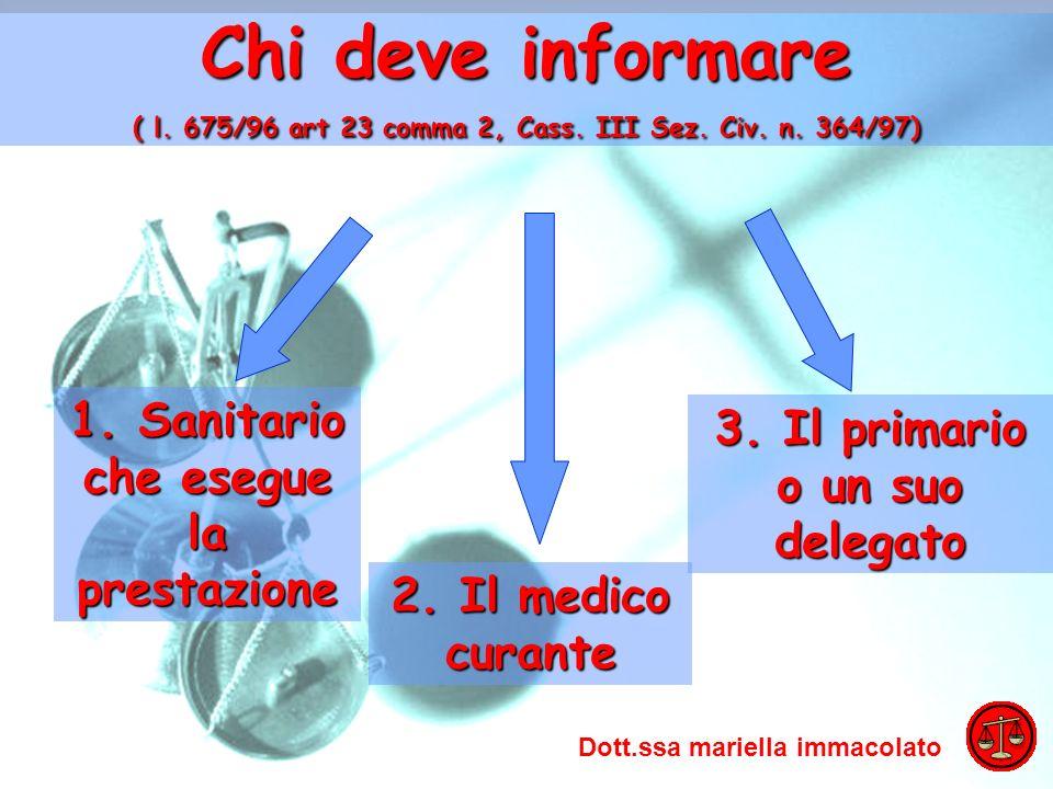 ADO 2009 Mariella Immacolato Chi deve informare ( l. 675/96 art 23 comma 2, Cass. III Sez. Civ. n. 364/97) 1. Sanitario che esegue la prestazione 3. I