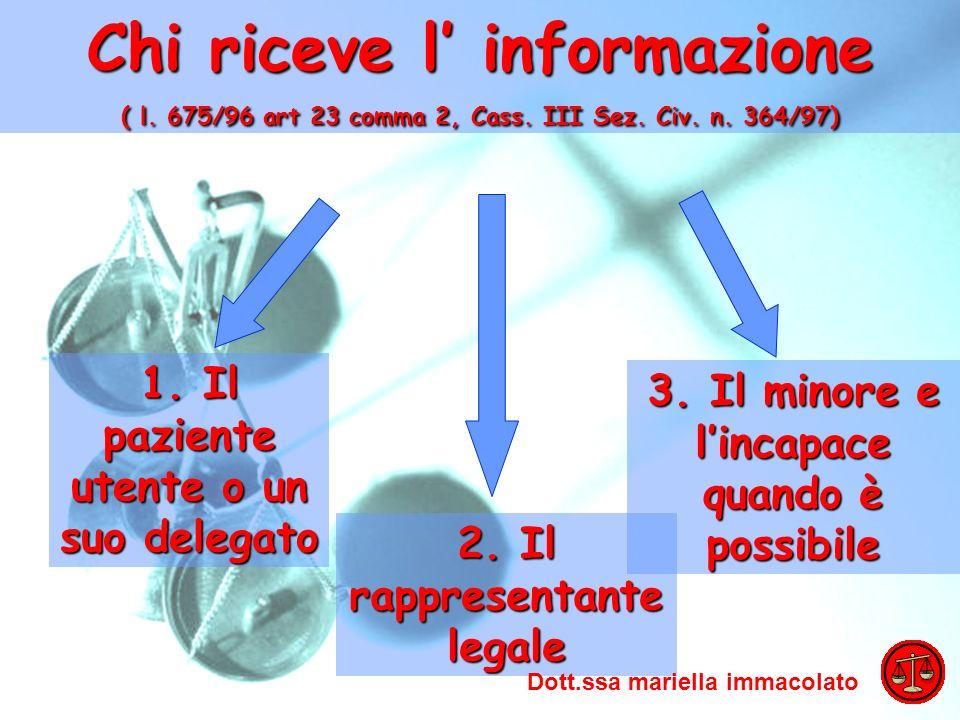 ADO 2009 Mariella Immacolato Chi riceve l informazione ( l. 675/96 art 23 comma 2, Cass. III Sez. Civ. n. 364/97) 1. Il paziente utente o un suo deleg