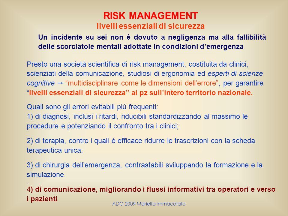 ADO 2009 Mariella Immacolato RISK MANAGEMENT livelli essenziali di sicurezza Un incidente su sei non è dovuto a negligenza ma alla fallibilità delle s