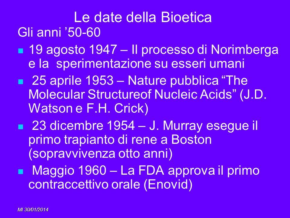MI 30/01/2014 Le date della Bioetica Gli anni 50-60 19 agosto 1947 – Il processo di Norimberga e la sperimentazione su esseri umani 25 aprile 1953 – N