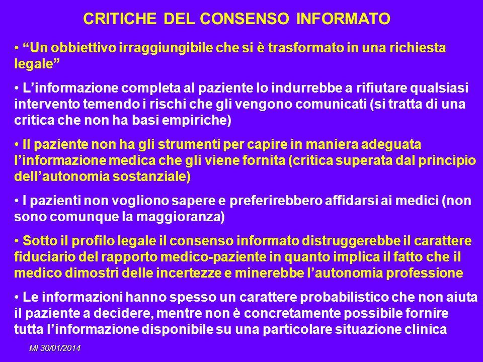 MI 30/01/2014 CRITICHE DEL CONSENSO INFORMATO Un obbiettivo irraggiungibile che si è trasformato in una richiesta legale Linformazione completa al paz