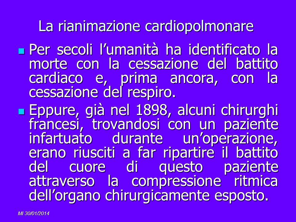 MI 30/01/2014 La rianimazione cardiopolmonare Per secoli lumanità ha identificato la morte con la cessazione del battito cardiaco e, prima ancora, con