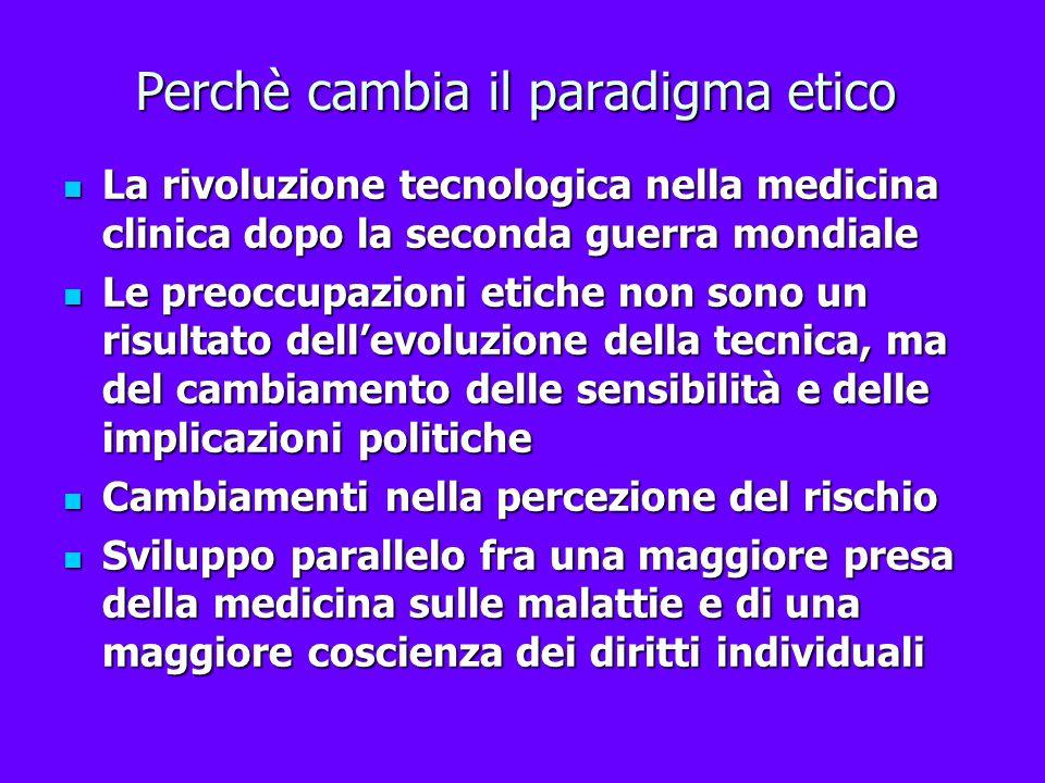 Perchè cambia il paradigma etico La rivoluzione tecnologica nella medicina clinica dopo la seconda guerra mondiale La rivoluzione tecnologica nella me