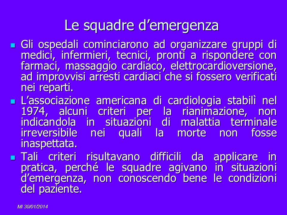 MI 30/01/2014 Le squadre demergenza Gli ospedali cominciarono ad organizzare gruppi di medici, infermieri, tecnici, pronti a rispondere con farmaci, m