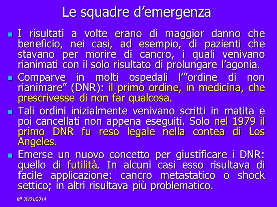 MI 30/01/2014 Le squadre demergenza I risultati a volte erano di maggior danno che beneficio, nei casi, ad esempio, di pazienti che stavano per morire