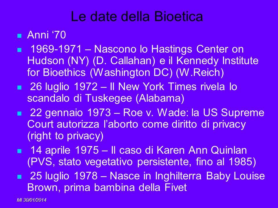 MI 30/01/2014 Le date della Bioetica Anni 70 1969-1971 – Nascono lo Hastings Center on Hudson (NY) (D. Callahan) e il Kennedy Institute for Bioethics
