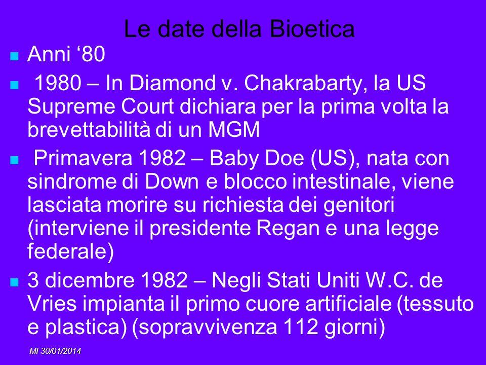 MI 30/01/2014 Le date della Bioetica Anni 80 1980 – In Diamond v. Chakrabarty, la US Supreme Court dichiara per la prima volta la brevettabilità di un