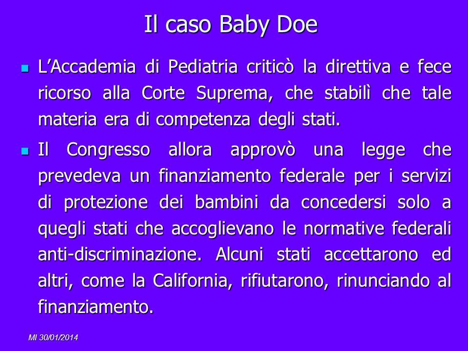 MI 30/01/2014 Il caso Baby Doe LAccademia di Pediatria criticò la direttiva e fece ricorso alla Corte Suprema, che stabilì che tale materia era di com