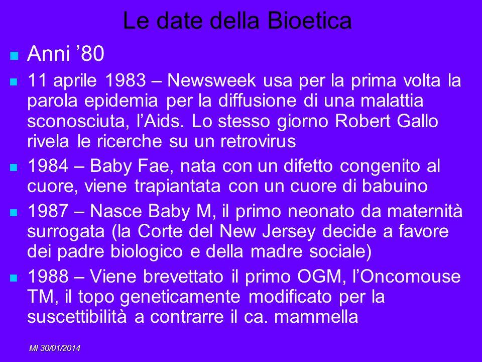 MI 30/01/2014 Le date della Bioetica Anni 80 11 aprile 1983 – Newsweek usa per la prima volta la parola epidemia per la diffusione di una malattia sco