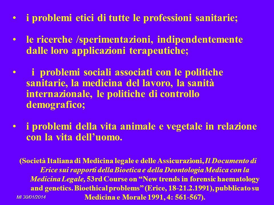 MI 30/01/2014 i problemi etici di tutte le professioni sanitarie; le ricerche /sperimentazioni, indipendentemente dalle loro applicazioni terapeutich