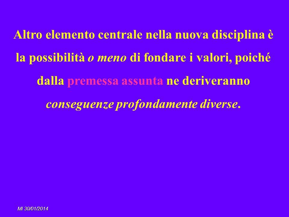 MI 30/01/2014 Altro elemento centrale nella nuova disciplina è la possibilità o meno di fondare i valori, poiché dalla premessa assunta ne deriveranno