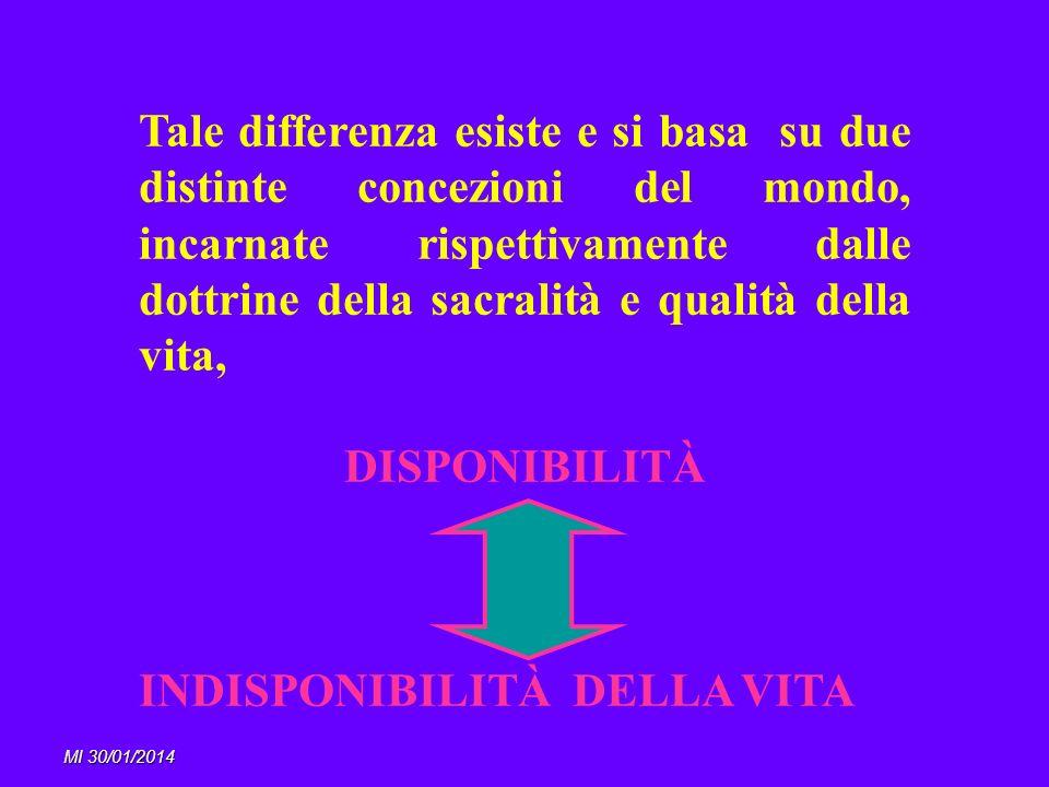 MI 30/01/2014 Tale differenza esiste e si basa su due distinte concezioni del mondo, incarnate rispettivamente dalle dottrine della sacralità e qualit