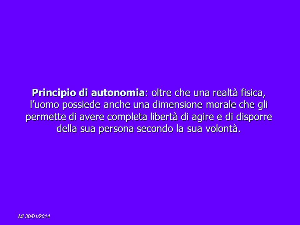 MI 30/01/2014 Principio di autonomia: oltre che una realtà fisica, luomo possiede anche una dimensione morale che gli permette di avere completa liber
