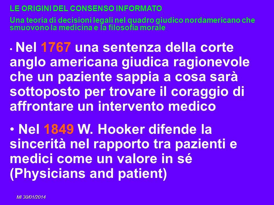 MI 30/01/2014 LE ORIGINI DEL CONSENSO INFORMATO Una teoria di decisioni legali nel quadro giudico nordamericano che smuovono la medicina e la filosofi