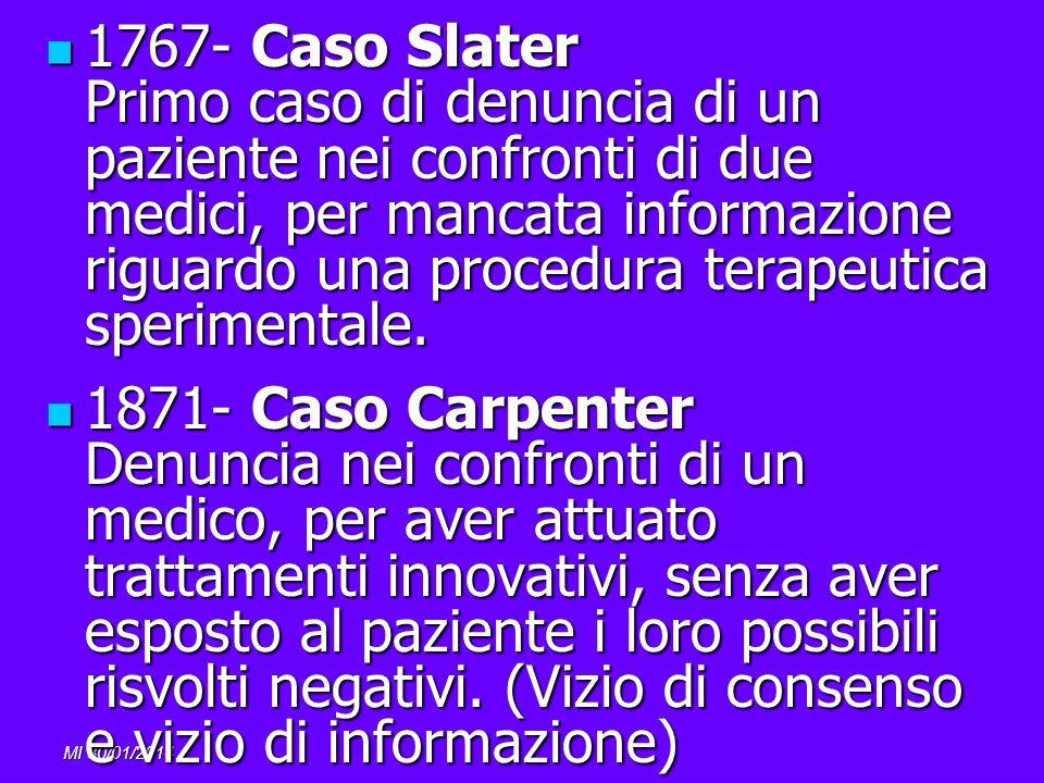 MI 30/01/2014 1767- Caso Slater Primo caso di denuncia di un paziente nei confronti di due medici, per mancata informazione riguardo una procedura ter