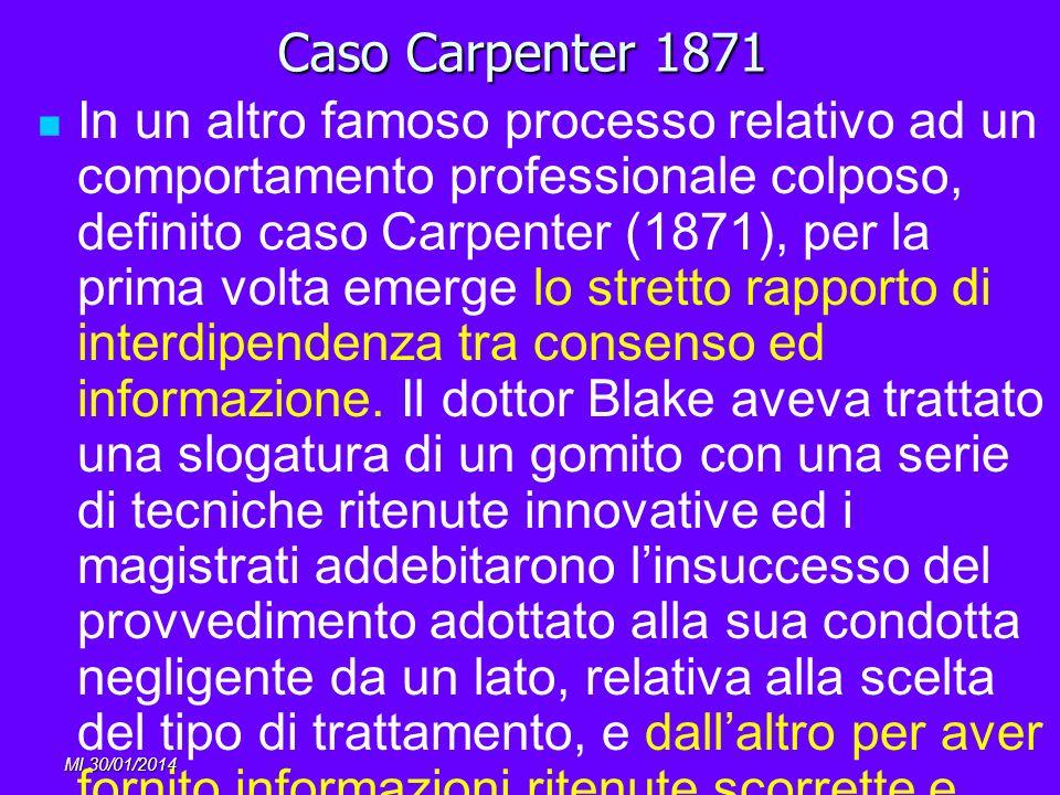 MI 30/01/2014 Caso Carpenter 1871 In un altro famoso processo relativo ad un comportamento professionale colposo, definito caso Carpenter (1871), per