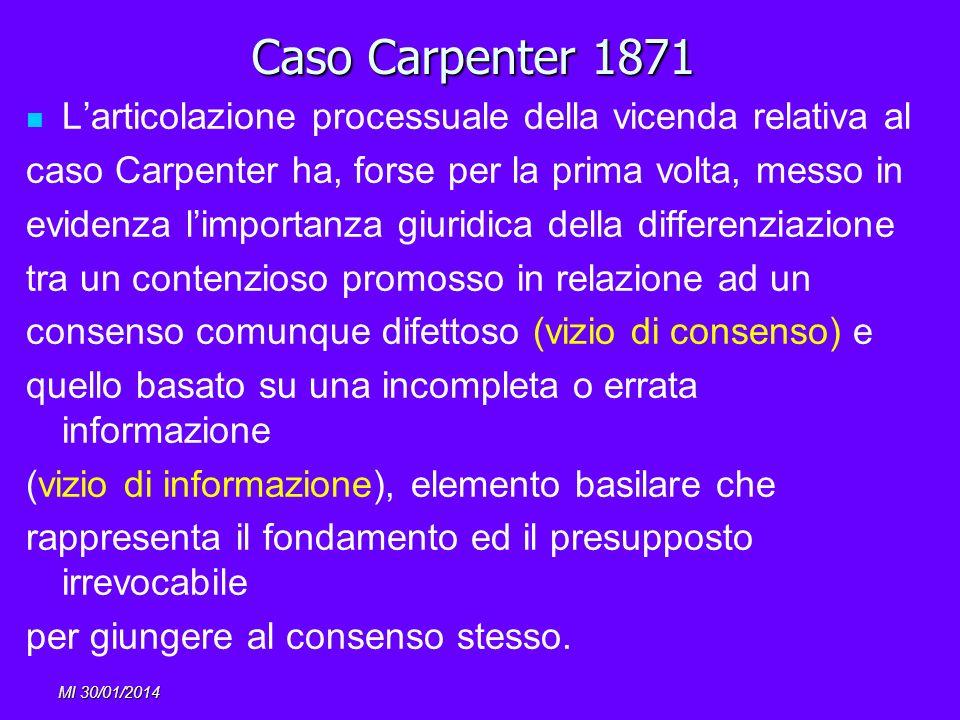 MI 30/01/2014 Caso Carpenter 1871 Larticolazione processuale della vicenda relativa al caso Carpenter ha, forse per la prima volta, messo in evidenza
