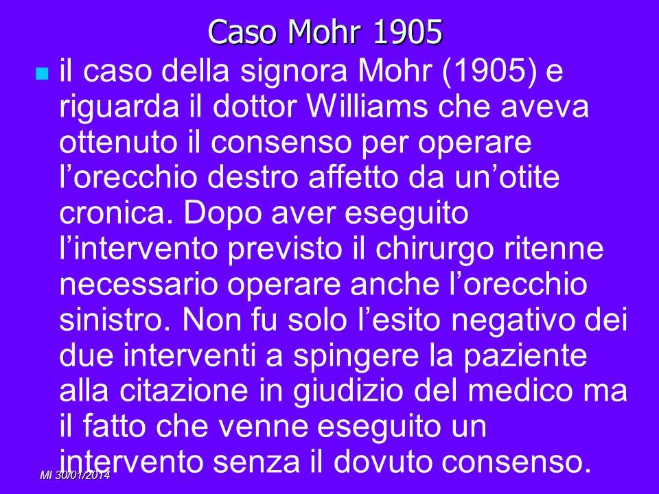 MI 30/01/2014 Caso Mohr 1905 il caso della signora Mohr (1905) e riguarda il dottor Williams che aveva ottenuto il consenso per operare lorecchio dest