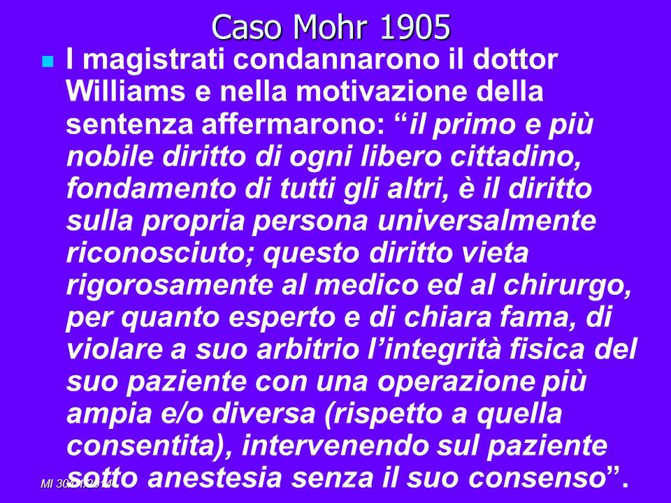 MI 30/01/2014 Caso Mohr 1905 I magistrati condannarono il dottor Williams e nella motivazione della sentenza affermarono: il primo e più nobile diritt