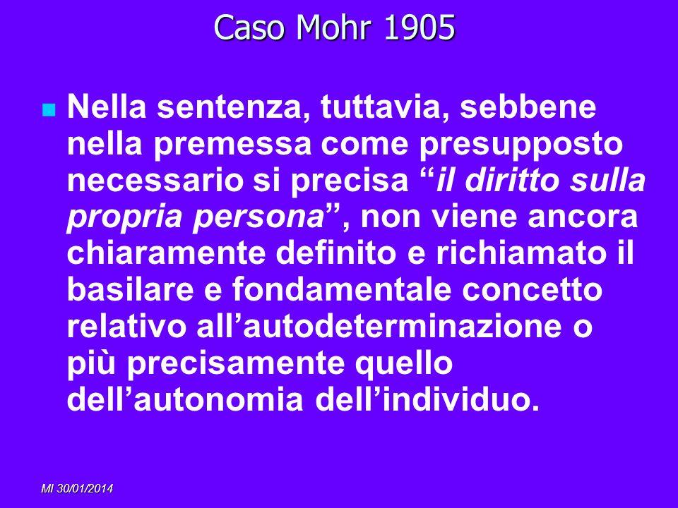 MI 30/01/2014 Caso Mohr 1905 Nella sentenza, tuttavia, sebbene nella premessa come presupposto necessario si precisa il diritto sulla propria persona,