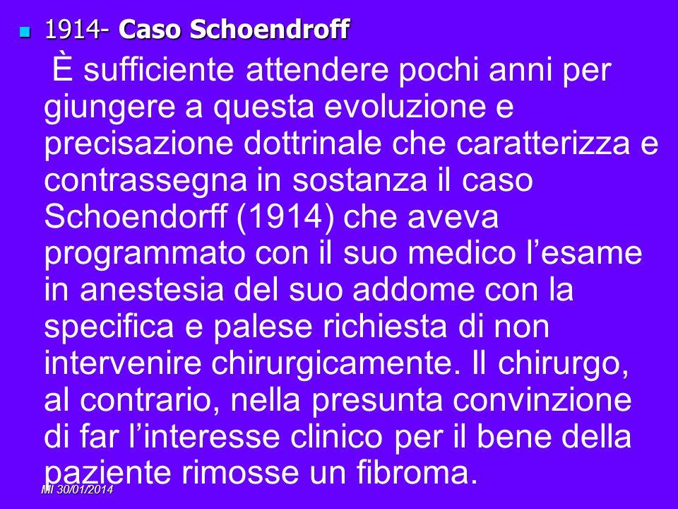 MI 30/01/2014 1914- Caso Schoendroff 1914- Caso Schoendroff È sufficiente attendere pochi anni per giungere a questa evoluzione e precisazione dottrin