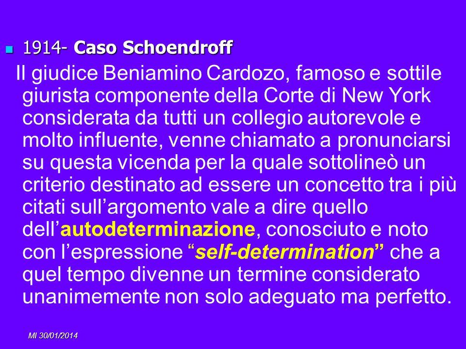 MI 30/01/2014 1914- Caso Schoendroff 1914- Caso Schoendroff Il giudice Beniamino Cardozo, famoso e sottile giurista componente della Corte di New York