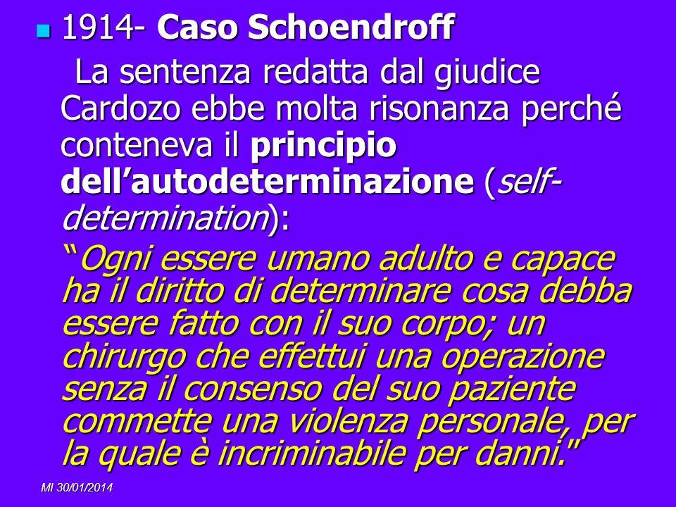 MI 30/01/2014 1914- Caso Schoendroff 1914- Caso Schoendroff La sentenza redatta dal giudice Cardozo ebbe molta risonanza perché conteneva il principio