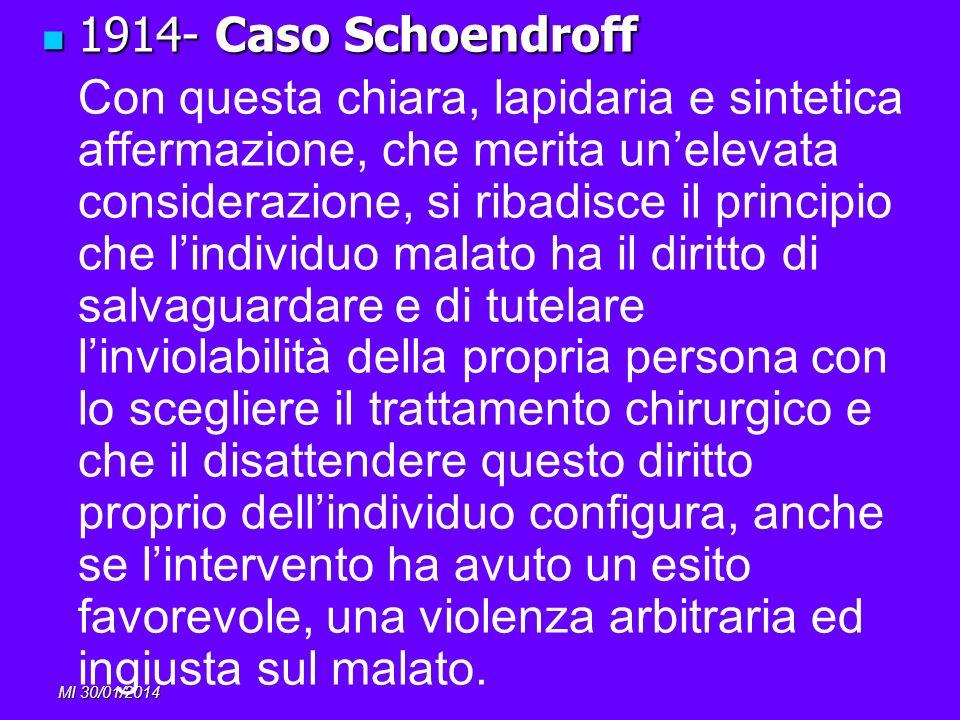 MI 30/01/2014 1914- Caso Schoendroff 1914- Caso Schoendroff Con questa chiara, lapidaria e sintetica affermazione, che merita unelevata considerazione