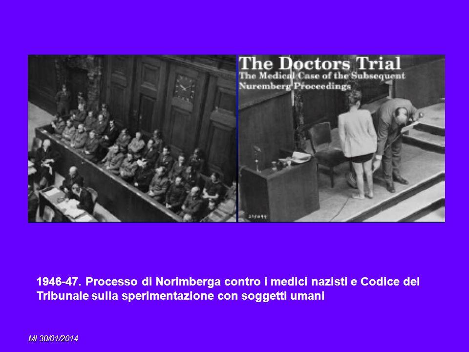 MI 30/01/2014 1946-47. Processo di Norimberga contro i medici nazisti e Codice del Tribunale sulla sperimentazione con soggetti umani