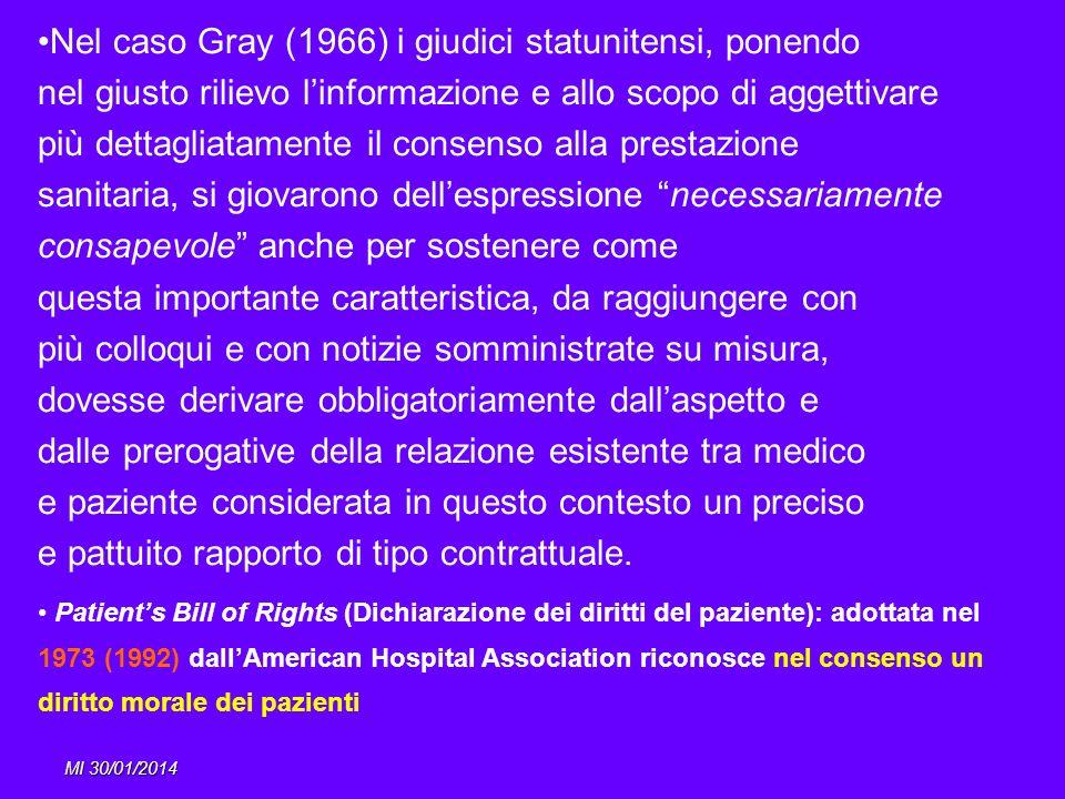 MI 30/01/2014 Nel caso Gray (1966) i giudici statunitensi, ponendo nel giusto rilievo linformazione e allo scopo di aggettivare più dettagliatamente i