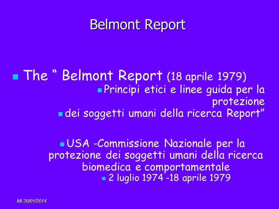 Belmont Report The Belmont Report (18 aprile 1979) Principi etici e linee guida per la protezione dei soggetti umani della ricerca Report USA -Commiss