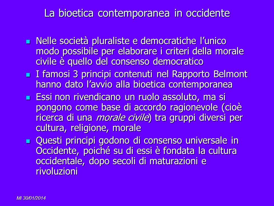 MI 30/01/2014 La bioetica contemporanea in occidente Nelle società pluraliste e democratiche lunico modo possibile per elaborare i criteri della moral