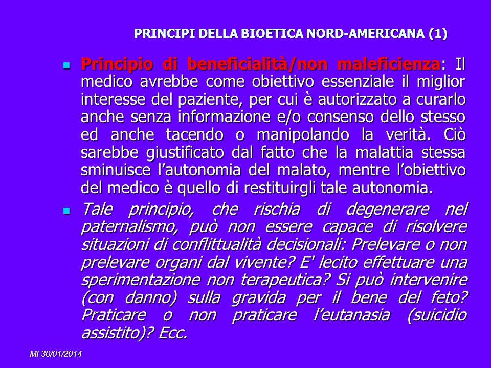 MI 30/01/2014 PRINCIPI DELLA BIOETICA NORD-AMERICANA (1) Principio di beneficialità/non maleficienza: Il medico avrebbe come obiettivo essenziale il m