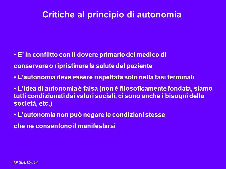 MI 30/01/2014 Critiche al principio di autonomia E in conflitto con il dovere primario del medico di conservare o ripristinare la salute del paziente