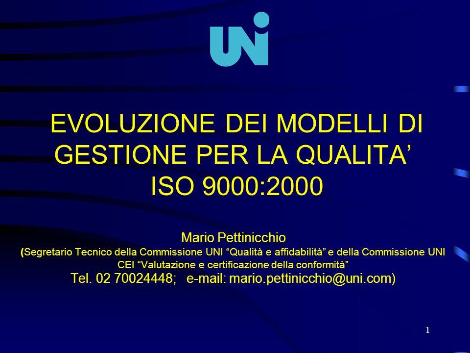 1 EVOLUZIONE DEI MODELLI DI GESTIONE PER LA QUALITA ISO 9000:2000 Mario Pettinicchio (Segretario Tecnico della Commissione UNI Qualità e affidabilità
