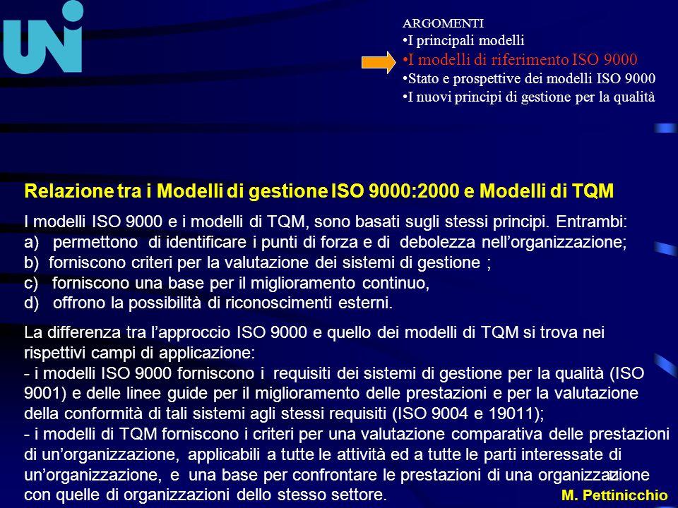 11 Relazione tra i Modelli di gestione ISO 9000:2000 e Modelli di TQM I modelli ISO 9000 e i modelli di TQM, sono basati sugli stessi principi. Entram