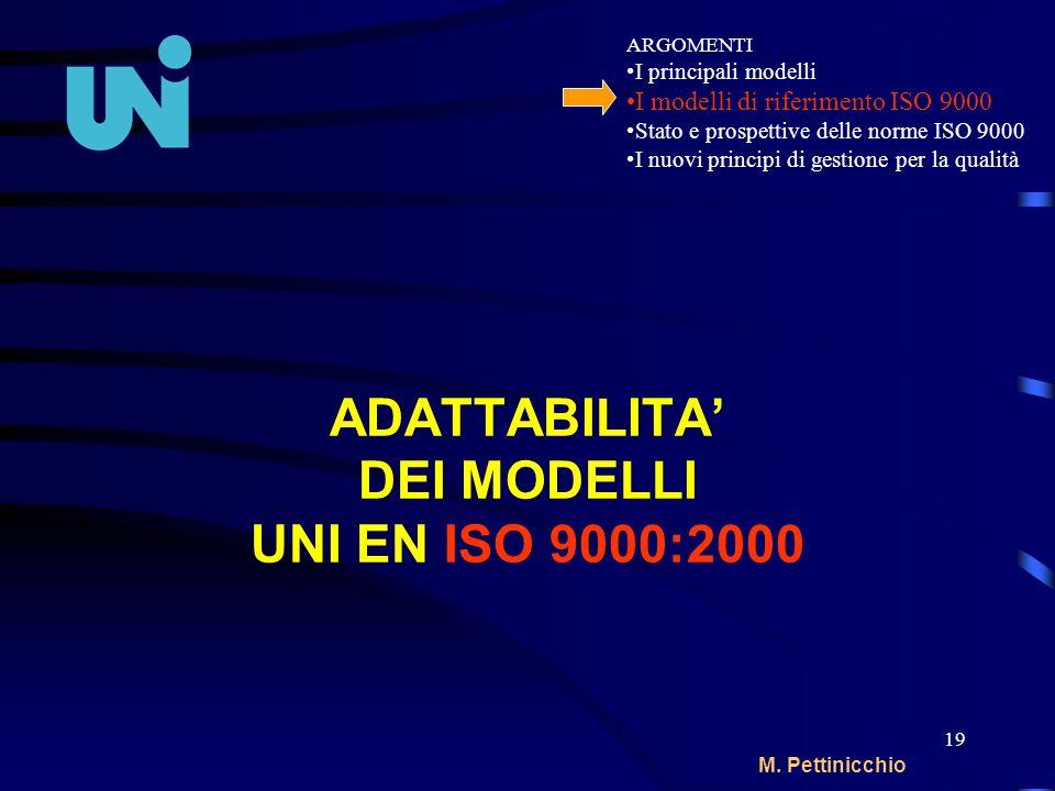 19 M. Pettinicchio ADATTABILITA DEI MODELLI UNI EN ISO 9000:2000 ARGOMENTI I principali modelli I modelli di riferimento ISO 9000 Stato e prospettive