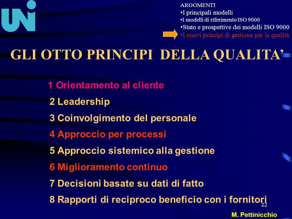 22 1 Orientamento al cliente 2 Leadership 3 Coinvolgimento del personale 4 Approccio per processi 5 Approccio sistemico alla gestione 6 Miglioramento
