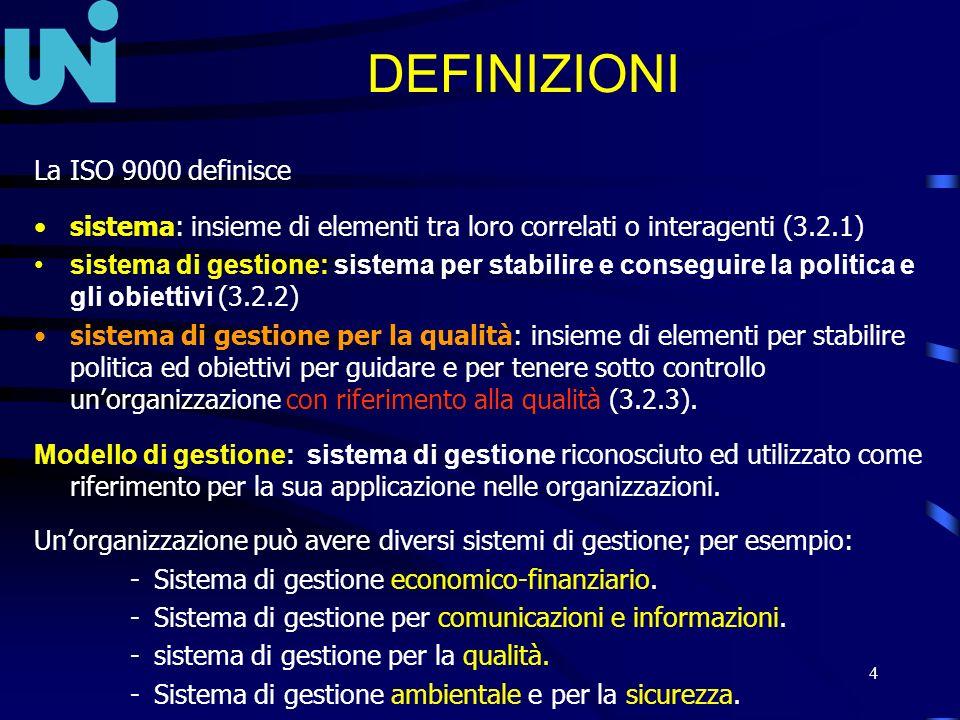 4 DEFINIZIONI La ISO 9000 definisce sistema: insieme di elementi tra loro correlati o interagenti (3.2.1) sistema di gestione: sistema per stabilire e