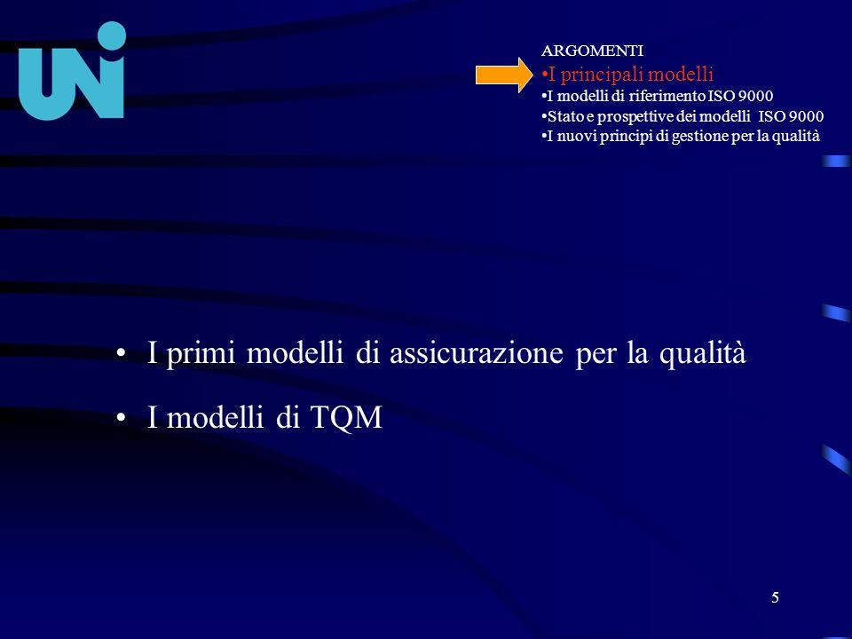 5 I primi modelli di assicurazione per la qualità I modelli di TQM ARGOMENTI I principali modelli I modelli di riferimento ISO 9000 Stato e prospettiv