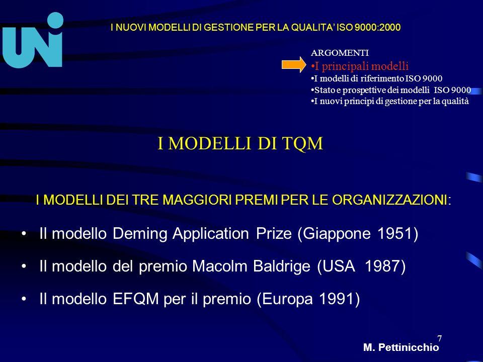 8 I MODELLI DI GESTIONE ISO 9001 E ISO 9004:2000 Mario Pettinicchio ARGOMENTI I principali modelli I modelli di riferimento ISO 9000 Stato e prospettive dei modelli ISO 9000 I nuovi principi di gestione per la qualità