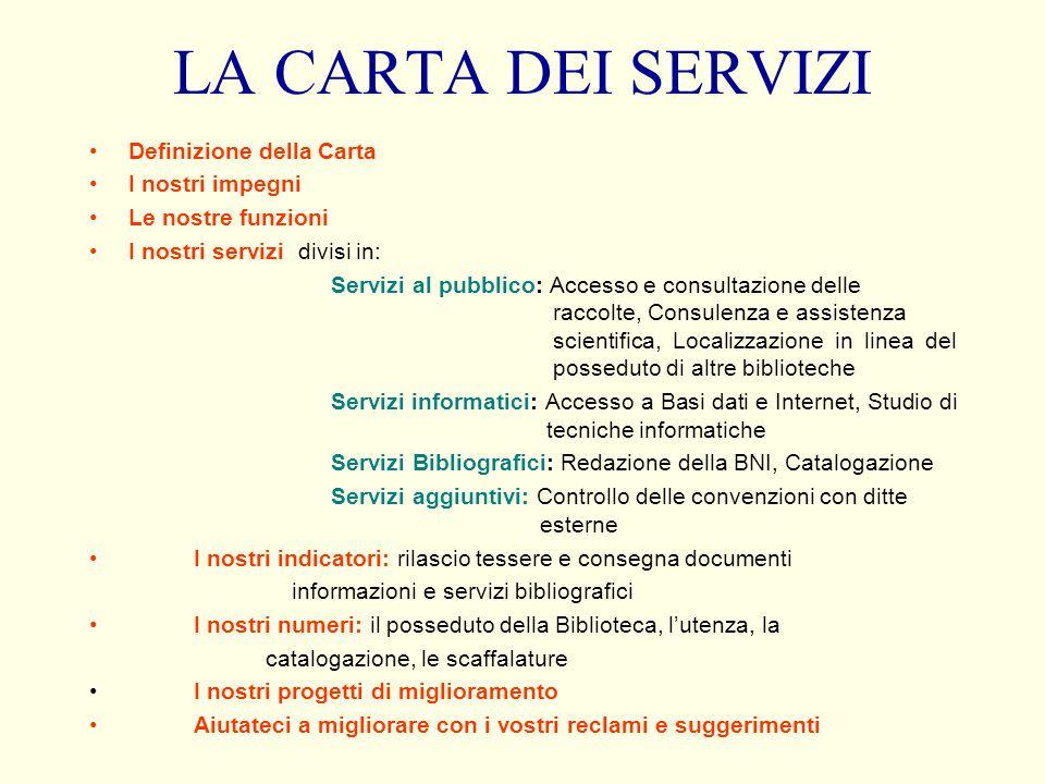 LA CARTA DEI SERVIZI Definizione della Carta I nostri impegni Le nostre funzioni I nostri servizi divisi in: Servizi al pubblico: Accesso e consultazi