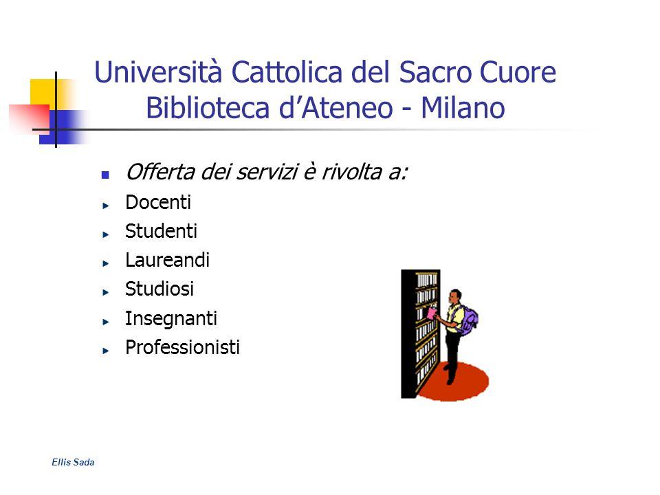 Università Cattolica del Sacro Cuore Biblioteca dAteneo - Milano Offerta dei servizi è rivolta a: Docenti Studenti Laureandi Studiosi Insegnanti Profe