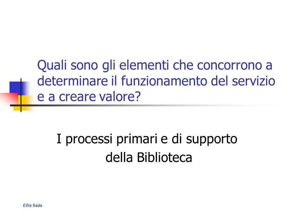 Quali sono gli elementi che concorrono a determinare il funzionamento del servizio e a creare valore? I processi primari e di supporto della Bibliotec