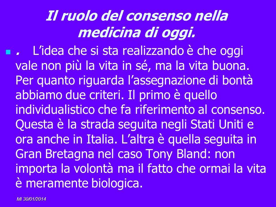 MI 30/01/2014 Il ruolo del consenso nella medicina di oggi.. Lidea che si sta realizzando è che oggi vale non più la vita in sé, ma la vita buona. Per