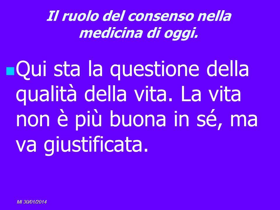 MI 30/01/2014 Il ruolo del consenso nella medicina di oggi. Qui sta la questione della qualità della vita. La vita non è più buona in sé, ma va giusti