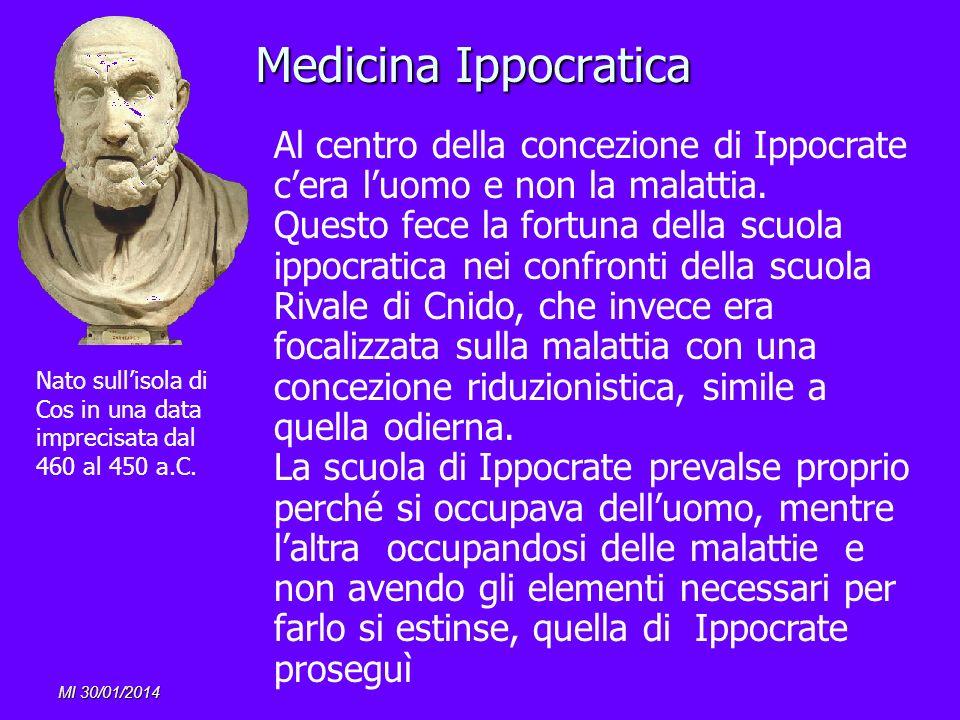 MI 30/01/2014 Medicina Ippocratica Al centro della concezione di Ippocrate cera luomo e non la malattia. Questo fece la fortuna della scuola ippocrati