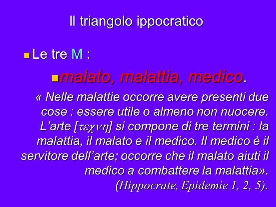 Il triangolo ippocratico Le tre M : Le tre M : malato, malattia, medico. malato, malattia, medico. « Nelle malattie occorre avere presenti due cose :