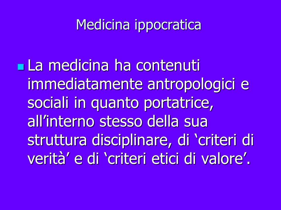 Medicina ippocratica La medicina ha contenuti immediatamente antropologici e sociali in quanto portatrice, allinterno stesso della sua struttura disci